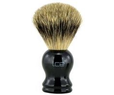 The Ice Black Pure Badger brush. The only mix in this brush the blend between affordability and quality. The all badger hair brush head soaks and retains water for the best lather around. Available at House of Knives. Shaving Brush, Wet Shaving, Best Shave, Hair Brush, Brushes, Knives, Ice, Pure Products