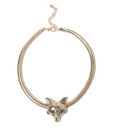 Fox Face Omega Chain Statement Necklace   Fashion Necklace   HOTTT.COM
