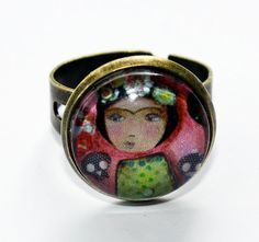 Frida Day of the Dead   Adjustable Ring Original Art by FlorLarios, $16.00