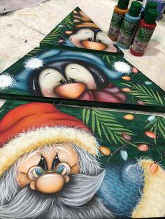 Fabric Painting, Diy Painting, Painting On Wood, Christmas Paintings, Christmas Art, Christmas Ornaments, Decoracion Navidad Diy, Painted Ironing Board, Chicken Drawing