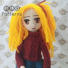 Meet Heidi, the cute little golden haired girl! I released the pattern for Heidi few days ago but couldn't find the interest to talk abo. Crochet Doll Pattern, Crochet Dolls, Crochet Patterns, Crochet Hats, Sport Weight Yarn, Photo Tutorial, Amigurumi Doll, Crochet Projects, Pop