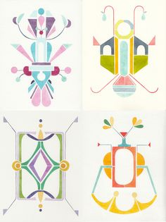Abstract-geometrical watercolor on Behance