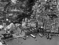 Central from the air. Notice the many piers for boats. We were a lot more connected to Victoria Harbour back then.   Central, Hong Kong 1935  http://www.facebook.com/W.Foundation