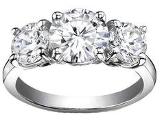 1.25 Ct. F-I3 Round Cut 3-Stone Diamond Engagement Ring