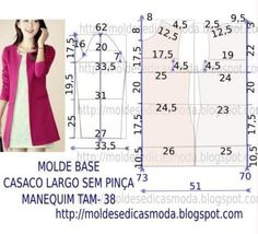 molde base de blazer feminino