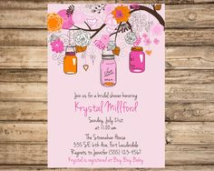 Mason Jar Rustic Bridal Shower Printable Digital Invitation