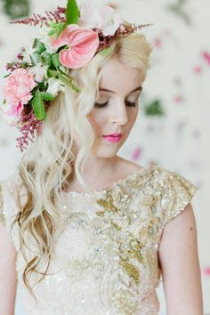 GORGEOUS Fresh Floral Bridal Headpiece: Pink Anthurium, Pink Peonies, White Dendrobium Orchids, Red Astilbe, Green Poppy Pods ~~