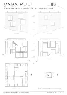 Casa Poli Pezo Von Ellrichshausen, Panel, Uni, Home And Family, Family Houses, Floor Plans, Layout, Ernest Hemingway, Architectural Drawings