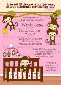 Melanie Monkey Baby Shower Invitations Girl Jungle by monkeyhut, $16.00