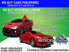 WE BUY USED MITSUBISHI LANCER PHILIPPINES Lancer EX GLX 1.6 MT  Lancer EX GLX 1.6 AT  Lancer EX MX 1.6 AT  Lancer EX GTA 2.0 CVT  Contact numbers: SMART: 0919-294-7979 GLOBE: 0927-956-2590 / 0906-151-4074
