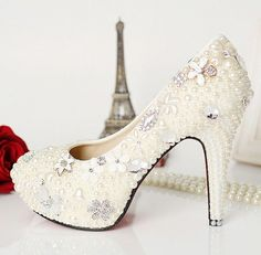 Pearly Wedding Shoes for Brides - Sortrature