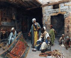 The Carpet Merchant , Cairo  By Alfons Leopold Mielich - German , 1863 - 1929  Oil on canvas 71 by 96cm