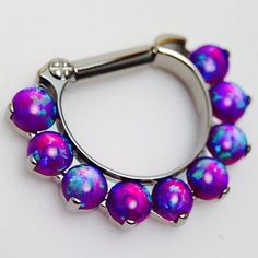 Sleepy lavender opal…(at Comes A Time Tattoo) Piercing Implant, Septum Piercing Jewelry, Face Piercings, Daith Earrings, Septum Clicker, Septum Ring, Nipple Rings, Body Jewellery, Jewelery