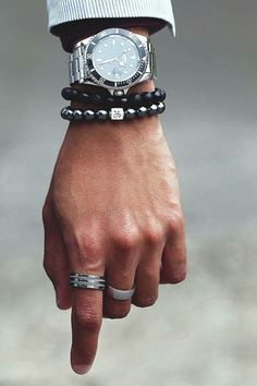 """vividessentials: """" Aurum Brothers provides men with custom luxury bracelets made with exceptional gemstones from ancient times, that are the perfect combination of durability and comfort. • Classic Silver Black Mixed - $139.00 • Minimal Silver..."""