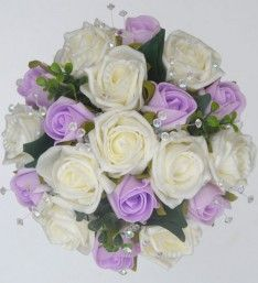Lilac & Ivory Artificial Rose Bridesmaids Posy with Eucalyptus and Light Catching Crystals