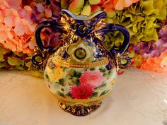 Gorgeous Vintage Nippon Porcelain Hand Painted Vase Chrysanthemum Cobalt Gold #Nippon