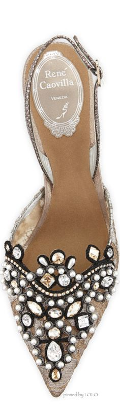 Rene Caovilla Jeweled Lace Halter Pump Pre-Fall 2014