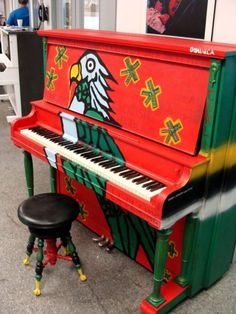 painted piano - love the colors