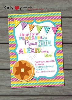 Colorful Pancakes and Pajamas Birthday Invitation -  etsy