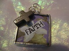 FAITH    Soldered Glass Art Pendant by victoriacharlotte on Etsy, $8.00
