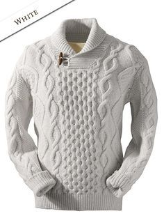 This Aran Shawl Neck Fisherman Sweater captures the spirit of the Aran Islands. The Aran Sweater also known as fisherman sweater enjoys a modern twist the shawl collar design. Gents Sweater, Mens Knit Sweater, Shawl Collar Sweater, Hand Knitted Sweaters, Sweater Knitting Patterns, Knitwear Fashion, Sweater Fashion, Clothes, Polo Neck