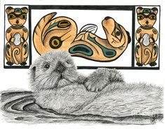 Christine Matha - Sea Otter Totem Inspired from visiting the Pacific Northwest and Alaska...Sea Otters are One of my favorite animals surrounded by his Native American Totem Poles © Copyright 2014 Christine A. Matha, All Rights Reserved