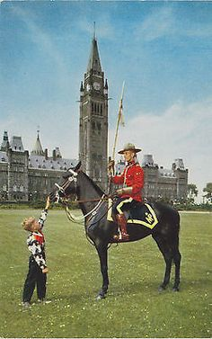 Mountie At Peace Tower, Canada, Postcard