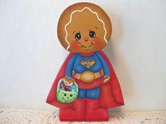 HP Gingerbread Halloween super boy trick or treater  SHELF SITTER hand painted
