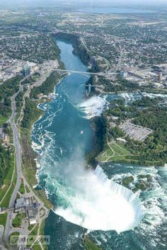 Helicopter ride over Niagara Falls / A bird's eye view of magnificent Niagara Falls -----the spectacular horseshoe falls are ours (on the Canadian side) :) Places To Travel, Places To See, Kids Places, Tourist Places, Places Around The World, Around The Worlds, Wonderful Places, Beautiful Places, Amazing Places