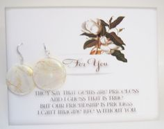 Mother of Pearl Earrings with Greeting Card by VirginiaCharm, $20.00