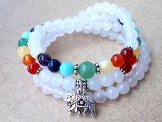 Mala Beads 108 Mala Chakra Necklace, Elephant Necklace, Elephant Jewelry, Hindu Prayer Beads, White Jade Mala, Buddhist Meditation Beads