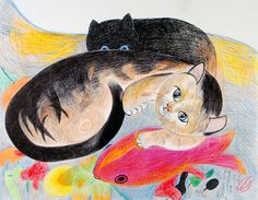 A Retrospective Exhibition – The first exhibition to be held at Mirikitani'sHiroshima home town- Jimmy Tsutomu Mirikitani was a second generation Japanese-American b. Crazy Cat Lady, Crazy Cats, Cute Cat Illustration, Peace Art, Red Snapper, Autumn Nature, Weird And Wonderful, Outsider Art, Cat Art
