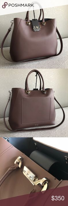 Zac Posen E.T.A Satchel - purple/silver Brand new. Product Dimensions: 11in (H) x 13in (L) x 5in (W). Features a hinge lock flap, an exterior slip pocket, interior slip pockets, a removable floral strap, and metal feet for wear and tear protection. Silver tone hardware. Large sized purple satchel handbag. Zac Posen Bags Satchels