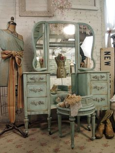 Vintage Painted Cottage Shabby Aqua Chic Vanity Van214