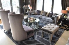 Living room in taupe, bronze and plum colors. Fabrics and Showroom, Outdoor Furniture Sets, Outdoor Decor, Bronze, Living Room, Interior Design, Luxury, Taupe, Projects