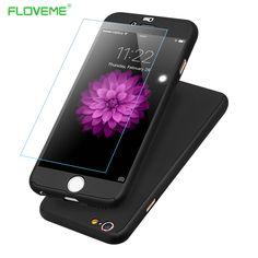 Floveme 브랜드 로고 중공 case 대한 iphone 6 6 s plus 5.5 360 360도 전체 바디 강화 유리 케이스