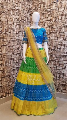 Blue green and yellow combination pattu lehanga perfect for your big day.. Powder blue color designer blouse with hand embroidery work. Lehanga and blouse with lime yellow color net dupatta. Grab this soon. They can customise as per your specifications .Order: Call/ Whats app-9247663022.Mail: stylus.qak@gmail.com. 17 May 2018 Half Saree Designs, Lehenga Designs, Blouse Designs, Blue Lehenga, Lehenga Blouse, Anarkali Dress, Indian Dresses, Indian Outfits, Kids Lehanga Design