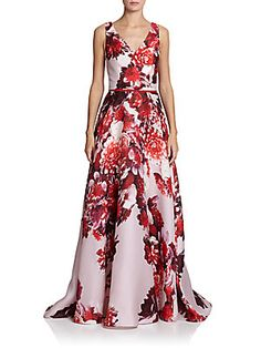 Carolina Herrera Floral Satin Gown