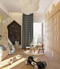 Оригинальный дизайн детской зоны Ваш малыш мечтает стать бесстрашным путешественником? Тогда он будет в восторге от этого интересного проекта, украшенного изображениями заснеженных горных вершин. Необычный красочный декор удачно сочетается с продуманной до мелочей Kids Bedroom Designs, Baby Room Design, Baby Boy Rooms, Little Girl Rooms, Design Hall, Creative Kids Rooms, Kid Spaces, Kids Furniture, Bedroom Decor