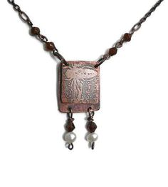 Etched Copper book necklace Bee Inspired to dream by RECREATE4U, $42.00
