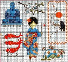 0 point de croix femme japonaise - cross stitch japanese girl