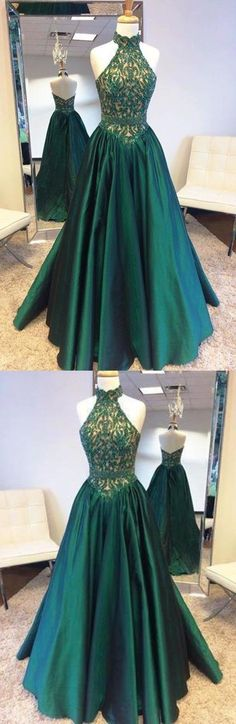 Elegant Halter Sweep Train Hunter Prom Dress with Lace Beading Prom Dresses, This dress could be custom made, there are no extra cost to do custom size and color Cute Prom Dresses, Tulle Prom Dress, Lace Evening Dresses, Mermaid Prom Dresses, Elegant Dresses, Lace Dress, Lace Beading, Beaded Lace, Bright Dress