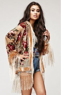 Stone Rose Floral Beaded Fringe Kimono - Champ - Saltwater Gypsy