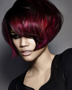 Gorgeous volume in ruby-red from James Earnshaw, Creative Director at Francesco Group Birmingham. Finalist for Midlands Hairdresser of the Year Bob Hairstyles, Straight Hairstyles, Redhead Hairstyles, Black Hairstyles, Pixie, Short Hair Styles, Natural Hair Styles, My Hairstyle, Hair Affair