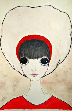 Stella the girl with a big hat and a red dress by FoxandWolves, $20.00