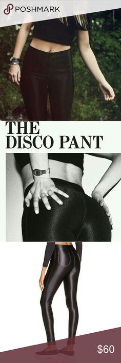 NWOT American apparel black disco pant small These are new American apparel disco pants 90% nylon 10% Elastane hi waisted rise 10in. waist measure across 12 in. Inseam 26 in. American Apparel Pants Skinny