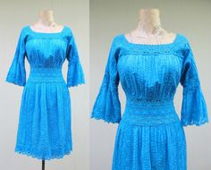Vintage 1970s Dress / 70s Mexican Turquoise by RanchQueenVintage