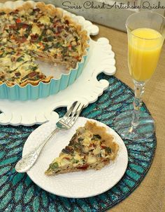 Easter Brunch! Swiss Chard & Artichoke Quiche with Spiced Whole Wheat Crust - Low Calorie, Low Fat Breakfast or Brunch