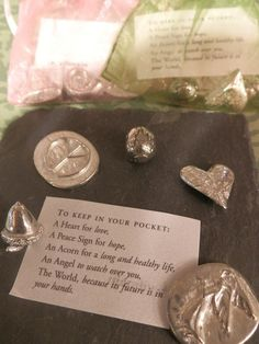 """""""To keep in your pocket"""" Friendship Little Bag of 5 Pewter #Charms. £10.95 from Harriet and Dee  01614382500"""