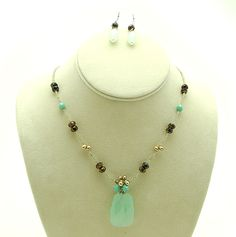 Quartz And Turquoise Beaded Necklace With Earrings